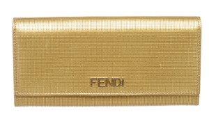 Fendi Fendi Gold Leather Long Snap Wallet