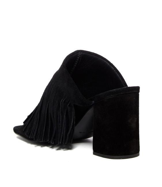 Item - Black Understated Leather Moonshine Fringed Suede Mules/Slides Size US 6 Regular (M, B)