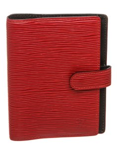 Louis Vuitton Louis Vuitton Red Epi Leather Small Ring Agenda Holder Cover