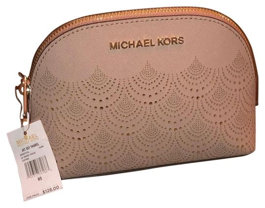 Preload https://img-static.tradesy.com/item/25419390/michael-kors-light-pink-w-gold-tone-accents-jet-set-pouch-cosmetic-bag-0-2-540-540.jpg