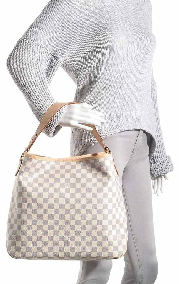 Louis Vuitton Delightful Handbag White Damier Azur Canvas Shoulder Bag