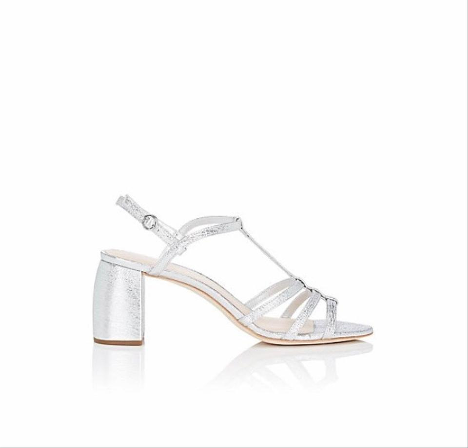 463f01143a Loeffler Randall Silver Elena Crinkled Leather Sandals Size US 7 ...
