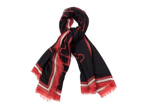 Givenchy Givenchy Womens Red Black Silk Cashmere Bambi Print Fringe Scarf E706