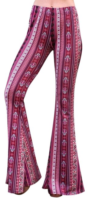 Item - Berry High Waist Comfy Yoga Ethnic Tribal Stretch 70s Bell Pants Size 4 (S, 27)