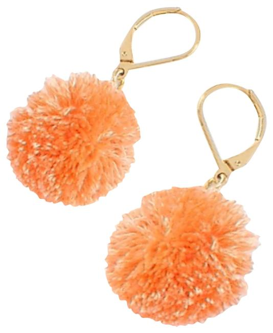 Item - Orange Pom Pom Drops Earrings