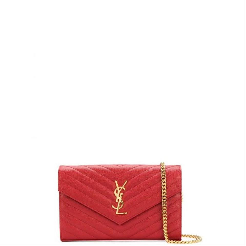 81951c7df49 Saint Laurent Envelope Chain Wallet Monogramme Red Leather Cross ...