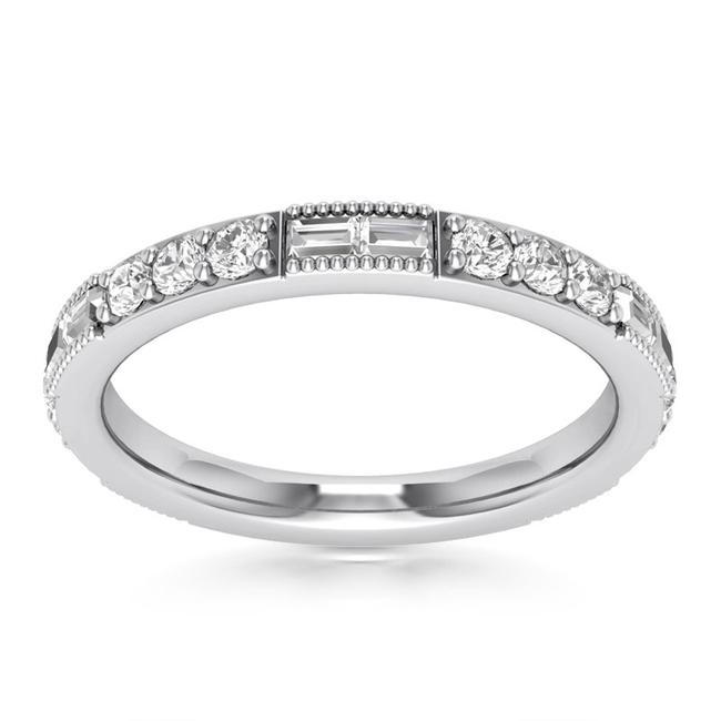 Item - White 0.76 Ct Round and Baguette Cut Ring In 14 Kt Women's Wedding Band