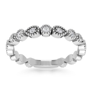 Natural Diamonds of NYC White 0.32 Ct Round Cut Ring (Color G Clarity Si-1) Women's Wedding Band