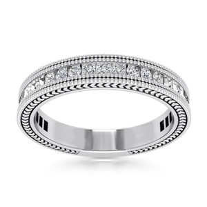 Natural Diamonds of NYC White 0.76 Ct Princess and Round Cut Ring In 14 Kt Women's Wedding Band