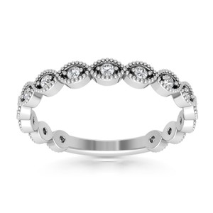 Natural Diamonds of NYC White 0.31 Ct Round Cut Ring (Color G Clarity Si-1) In Women's Wedding Band