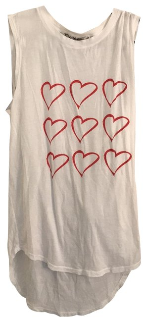 Item - White Hearts Muscle Tee Tank Top/Cami Size OS (one size)
