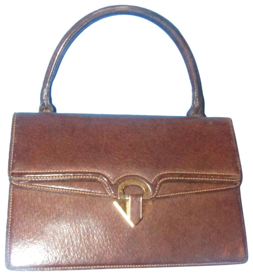 Gucci Bag Vintage Top Handle Purse Brown Leather with Contrast Stitching  and Gold Accents Boar-skin Satchel