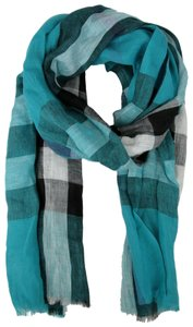 Burberry Cyan Green Exploded Nova Checkered Linen Crinkle Scarf 39626371