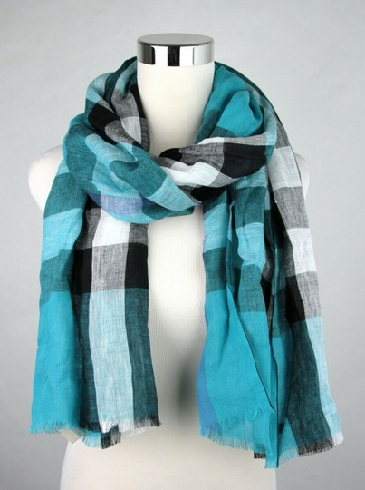 Burberry Cyan Green Exploded Nova Checkered Linen Crinkle Scarf 39626371 Image 1