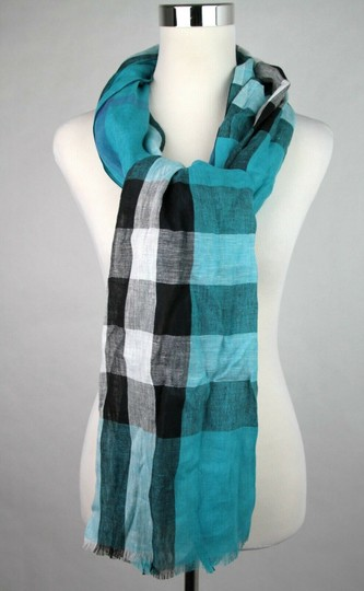 Burberry Cyan Green Exploded Nova Checkered Linen Crinkle Scarf 39626371 Image 2
