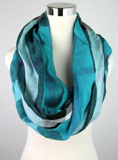 Burberry Cyan Green Exploded Nova Checkered Linen Crinkle Scarf 39626371 Image 3