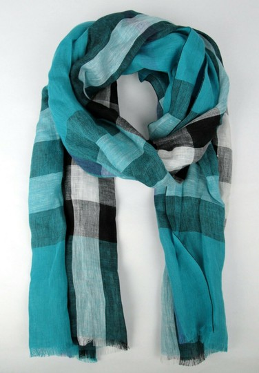 Burberry Cyan Green Exploded Nova Checkered Linen Crinkle Scarf 39626371 Image 4