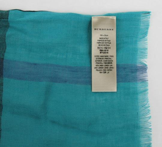 Burberry Cyan Green Exploded Nova Checkered Linen Crinkle Scarf 39626371 Image 5
