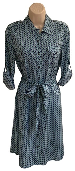 Item - Teal Blue Navy and Gold 12131494 Mid-length Work/Office Dress Size 6 (S)
