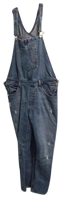Item - Blue Distressed Overalls Cargo Jeans Size 14 (L, 34)