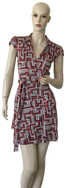 Item - Red Gray Griffith Geometric Short Work/Office Dress Size 4 (S)
