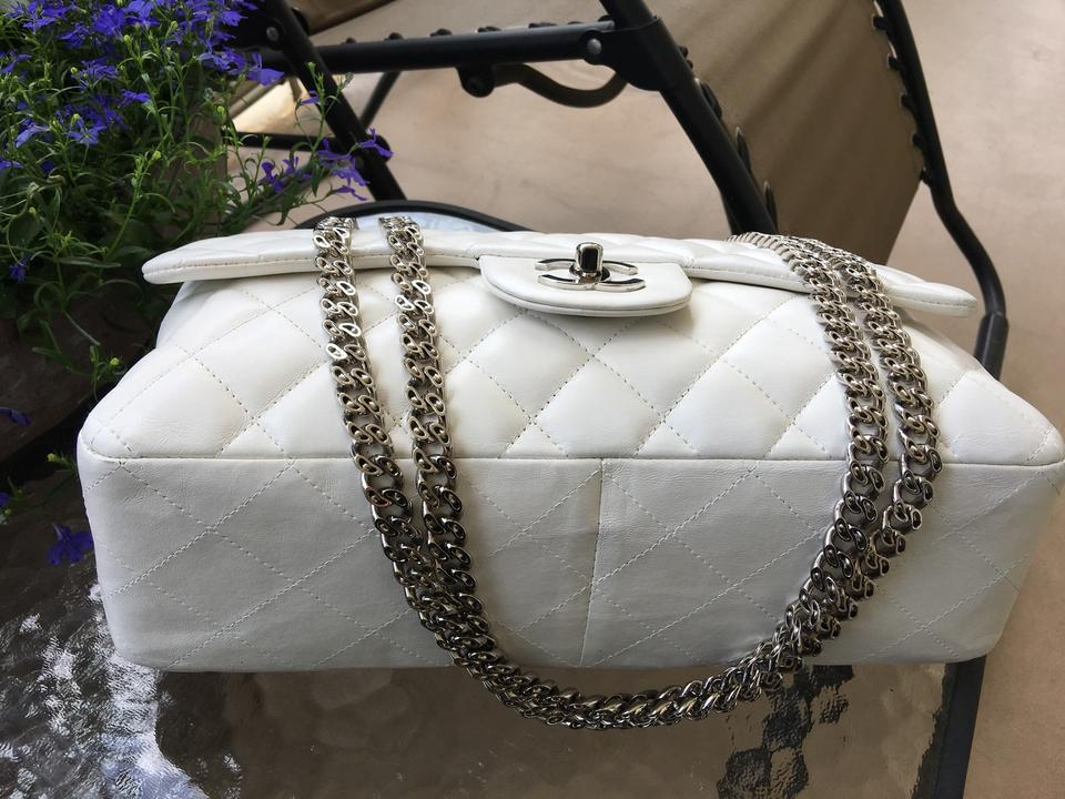 7694eac721b1 Chanel Classic Jumbo Single Flap White Leather Shoulder Bag - Tradesy