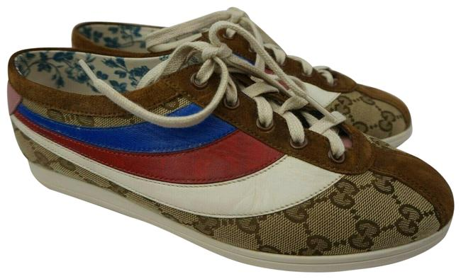 Item - Multicolor Falacer Gg Logo Women's Brown Red Blue White Rainbow Sneakers Size EU 38 (Approx. US 8) Regular (M, B)