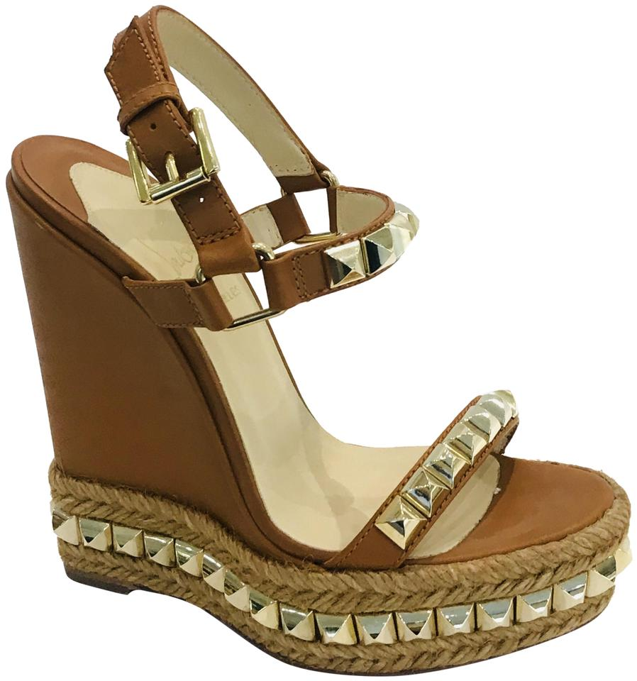 new arrival 5a994 93191 Christian Louboutin Brown Cataclou Studded Sandals Wedges Size EU 35  (Approx. US 5) Regular (M, B)