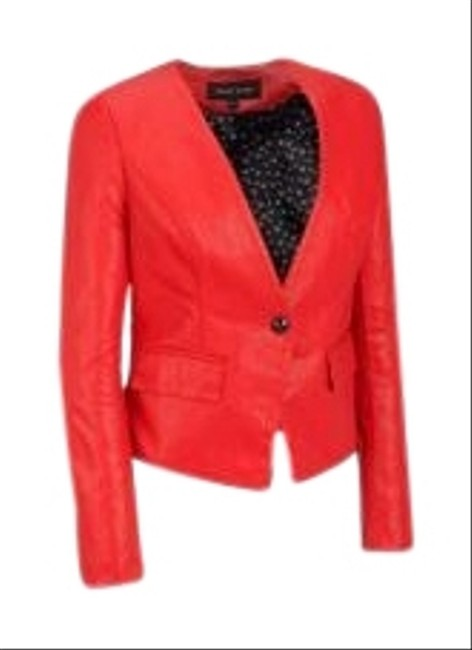 Item - Red Single Button Faux Leather Blazer Size 12 (L)