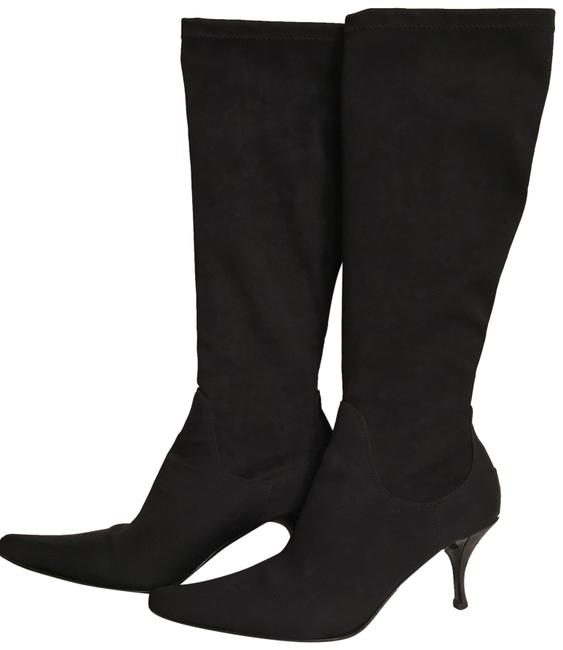 Item - Black Silver Silk Crepe Stretch Boots/Booties Size US 7 Regular (M, B)