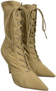 YEEZY Canvas Pointed Toe Lace Up Pump Beige Boots