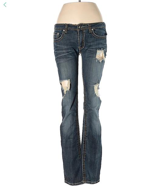 Machine Blue Distressed Rise Rhinestone Tab Pocket 31x32 Straight Leg Jeans Size 10 (M, 31) Machine Blue Distressed Rise Rhinestone Tab Pocket 31x32 Straight Leg Jeans Size 10 (M, 31) Image 1