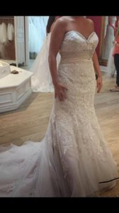 Mori Lee Ivory/ Light Gold Embroidered Appliqués On Net with Taffeta Empire 1903 Formal Wedding Dress Size 12 (L)