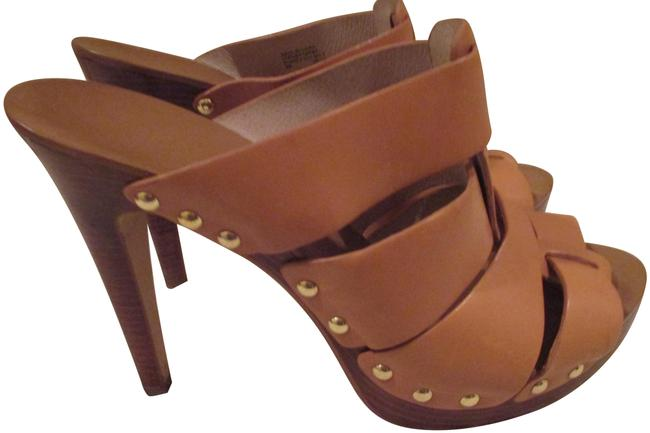 "Item - Camel Leather Studded 4.5"" Heels Sandals M Platforms Size US 9 Regular (M, B)"