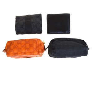 a5bb4d7fb898 Gucci GUCCI 4 Pile Set Pouch Wallet Canvas Leather Black Orange Italy