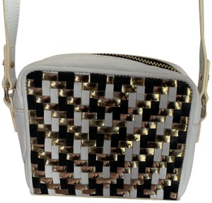 MILLY Leather Shoulder Woven Metallic Cross Body Bag