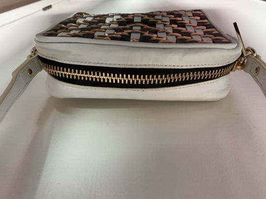 MILLY Leather Shoulder Woven Metallic Cross Body Bag Image 4