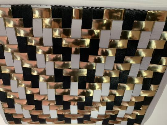 MILLY Leather Shoulder Woven Metallic Cross Body Bag Image 5