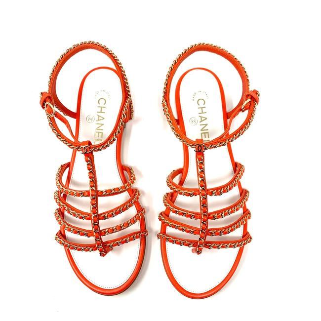 Item - Orange and Gold 18p Chain Cc Gladiator Sandals Size EU 40 (Approx. US 10) Wide (C, D)