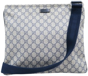 44dccd8a6e97c8 Gucci Gg Supreme Canvas Navy&Beige Messenger Bag