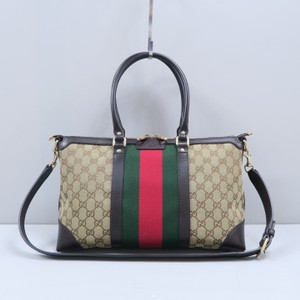 Gucci Canvas Gg Satchel in Brown