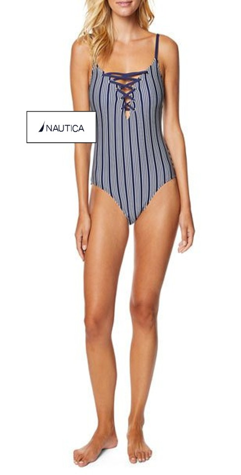f91666043fcac Nautica Striped Lace-Up Grommets Detail Swimwear Style No. BL P006T Image 0  ...