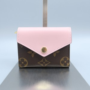 Louis Vuitton Zoé Pink Calfskin and Brown Monogram Canvas Wallet