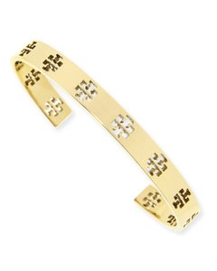 Tory Burch B048 - Tory Burch T Logo Pierced Gold Plated Cuff Slip-on Bracelet