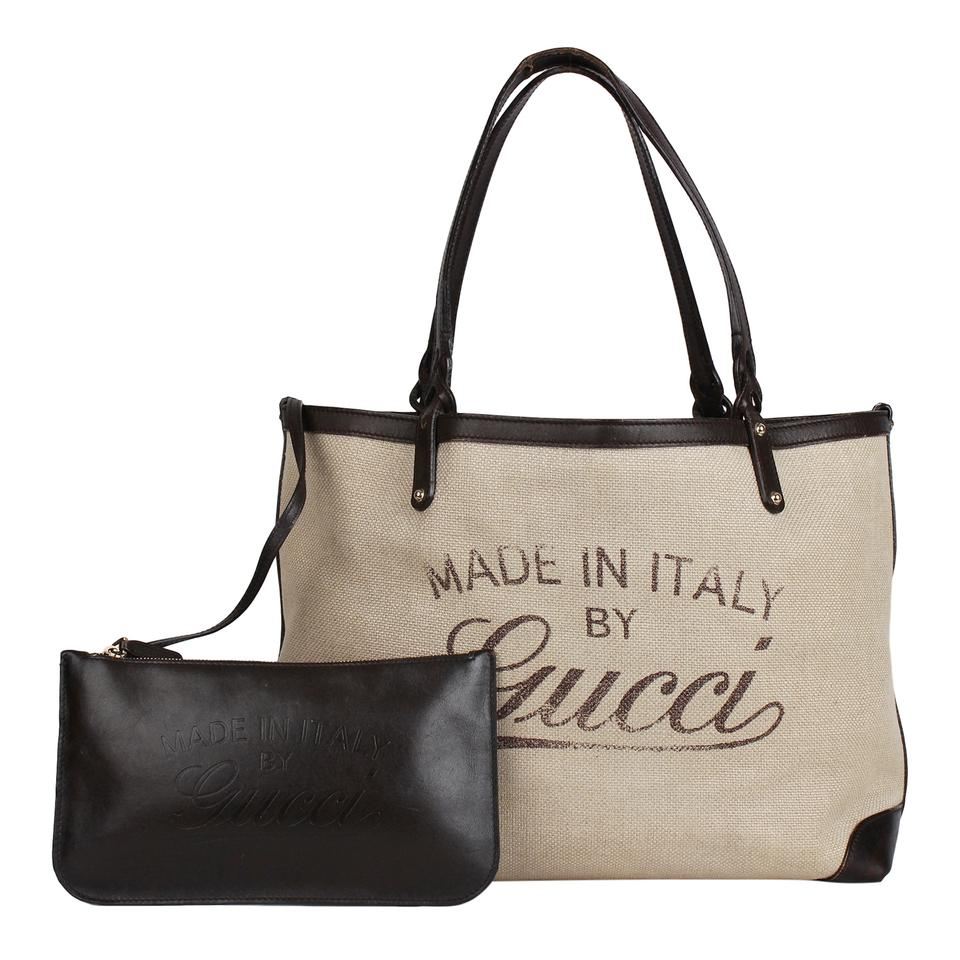 cd832b244 Gucci Canvas and with Pouch 7388 Signature Leather Tote - Tradesy