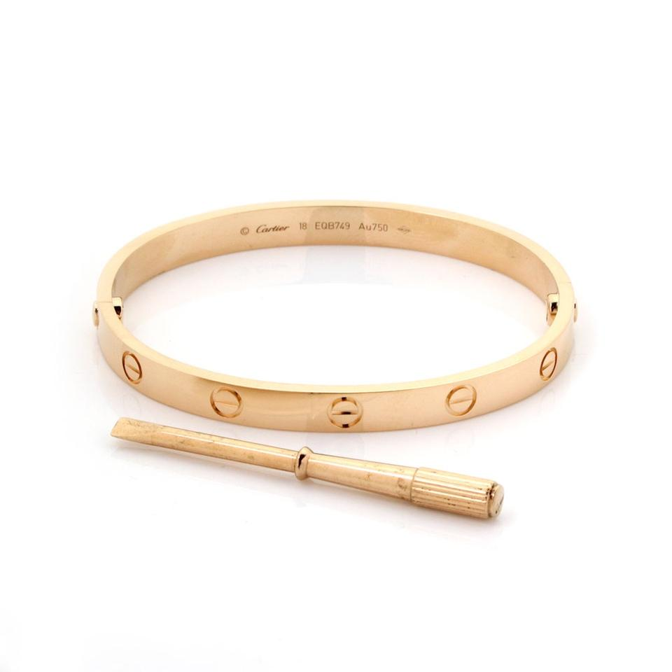 8498ce1a6beee Cartier #23517 W Love Bangle New Screw In 18k Rose Gold W/Screwdriver &  Cert - Size 18 Bracelet 6% off retail