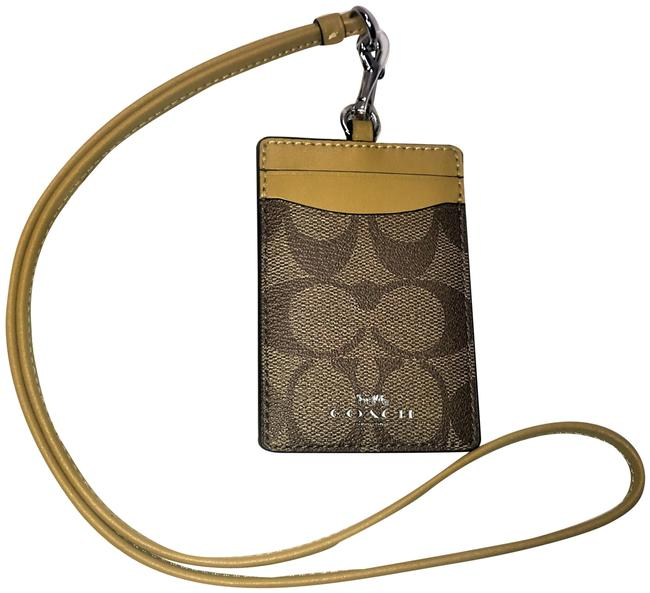Item - Holder Id Card Wallet Necklace Tan/Yellow/Gold Leather/Canvas Cross Body Bag