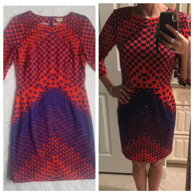 Item - Blue Orange Midi 3/4 Sleeve Mid-length Work/Office Dress Size 4 (S)