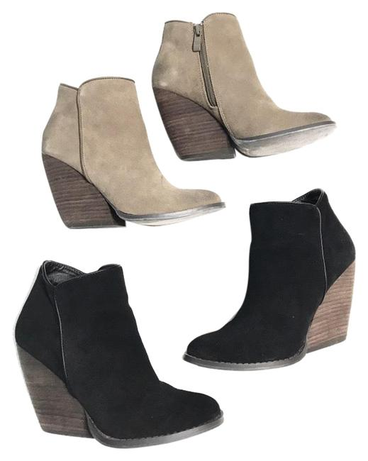 Item - Suede Wooden Wedge Boots/Booties Size US 6 Regular (M, B)