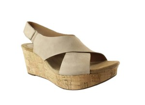 Clarks Platform Wedge Cork Tan Sandals